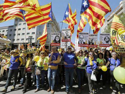Manifestación por los presos soberanistas en Barcelona.