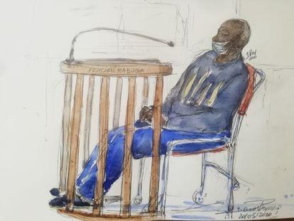 Retrato de Félicien Kabua, uno de los presuntos responsables del genocidio de Ruanda, durante su audiencia en el tribunal de París