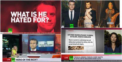 """Ejemplos de la cobertura de RT sobre Macron. """"Por qujé se le odia?"""", se preguntaba la cadena. En otra ocasión le compara a Napoléon y Luis XIV. Se le llama """"héroe de los ricos"""" y se le acusa de """"humillar a un general""""."""
