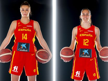 Raquel Carrera y Maite Cazorla, en la sesión oficial de fotos del Eurobasket. feb