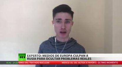 Luis Villadiego, director de Digital Sevilla, durante una aparición reciente en un boletín de la cadena estatal rusa RT.