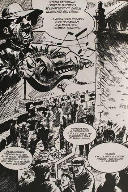 Una de las viñetas del cómic <i>O fillo da furia</i>, de Manolo López Poy y Miguel Fernández.