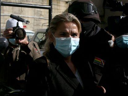 Jeannine Añez, durante su detención en marzo de 2021.