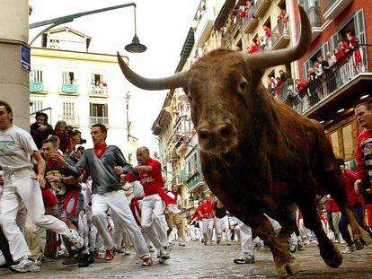 Los toros de la ganadería gaditana de Jandilla corren por la calle Estafeta, durante el sexto encierro de los Sanfermines 2004.