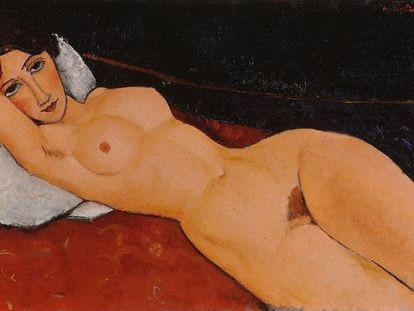 Desnudo sobre una almohada blanca (1917), de Amedeo Modigliani.
