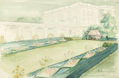 The President's Garden, acuarela de Rachel Bunny Mellon (24 de enero de 1962).  
