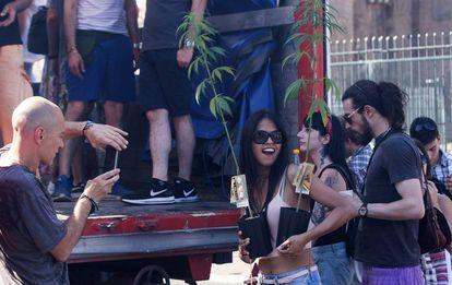 Manifestación en Roma, el pasado 30 de junio, a favor del uso de cannabis.