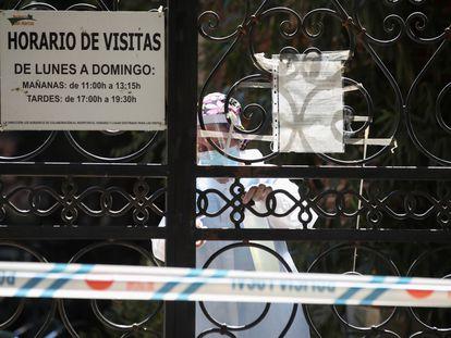 Exterior de la residencia de Mayores San Marcos en San Martín de la Vega, Madrid, el 6 de agosto. En esta residencia se registró un brote de coronavirus con 47 casos, entre ellos un fallecido.
