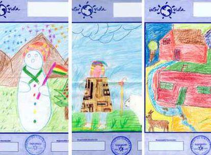 Algunos de los dibujos -hechos, según Intervida, por varios niños apadrinados- recibidos a lo largo de los años por uno de los  asociados de Madrid.