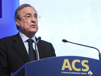 Florentino Pérez, presidente de ACS, en la Junta de Accionistas.