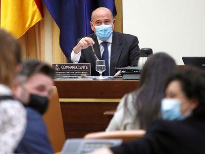 El coronel de la Guardia Civil, Diego Pérez de los Cobos, compareciendo en la Comisión del Congreso de los Diputados el pasado 25 de marzo.