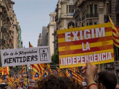 Manifestación en Barcelona con motivo de la Diada.