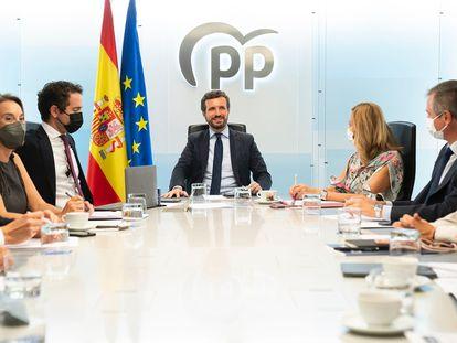 Pablo Casado preside, el pasado viernes, el comité de dirección del PP.