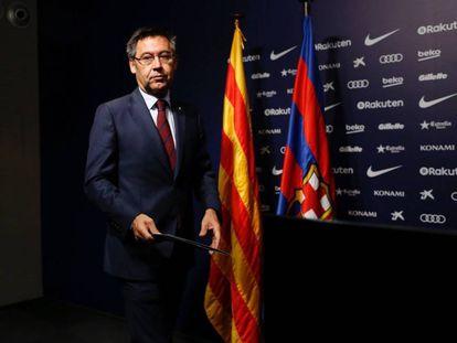 El presidente del Barcelona, Josep Maria Bartomeu, en la conferencia de prensa de este lunes.