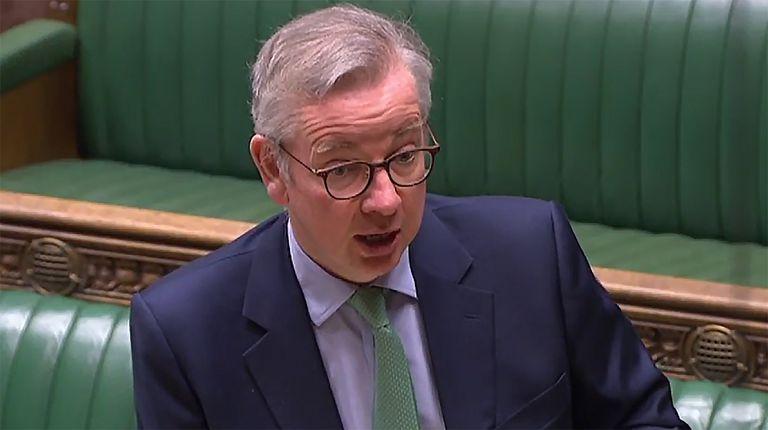 El jefe de Gabinete de Johnson, Michael Gove, explica este miércoles en la Cámara de los Comunes las negociaciones con la UE.