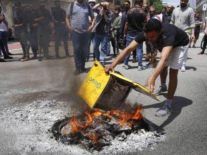 Protesta de repartidores de Glovo tras la muerte de un trabajador.