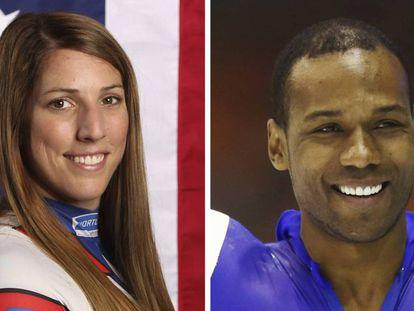 Erin Hamlin y Shani Davis, los deportistas entre quienes se escogió al abanderado de EE UU. En vídeo, Hamlin agradece a sus compañeros la oportunidad de ser abanderada.