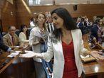 Rocío Monasterio, portavoz de Vox en la Asamblea de Madrid, en el pleno de investidura de Isabel Díaz Ayuso, en agosto.
