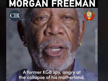 Campaña de RT contra Morgan Freeman en respuesta a un video del actor en el que criticaba al presidente ruso Vladimir Putin.