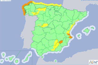 Mapa de previsiones para hoy de Aemet.