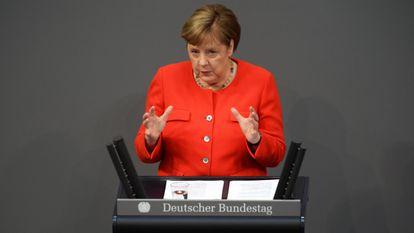 La canciller alemana, Angela Merkel, durante la presentación de las prioridades de la presidencia alemana ante el Bundestag, en Berlín a mediados de junio.