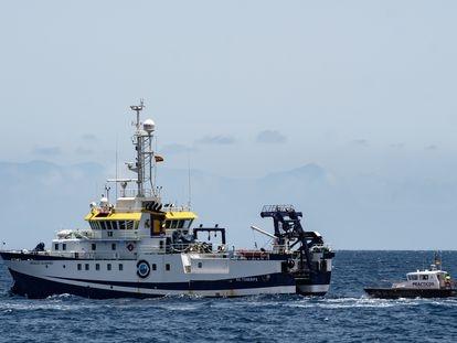 El buque oceanográfico 'Ángeles Alvariño', en el Puerto de Santa Cruz de Tenerife.