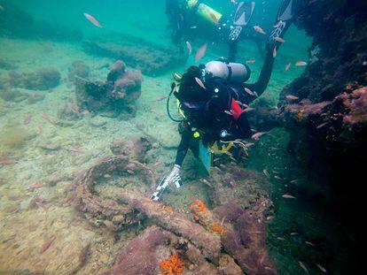 Los trabajos de arqueología subacuática en Sisal, en el sureste de México.
