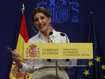 La ministra de Trabajo, Yolanda Díaz, tras la firma del acuerdo sobre el SMI.