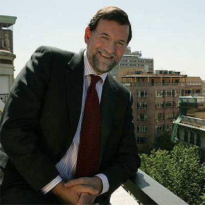 Mariano Rajoy, en la sede del PP, en la calle Génova de Madrid.