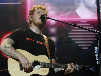 Ed Sheeran, en su concierto de anoche en Madrid.