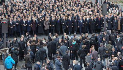 Los líderes mundiales en la cabecera de la manifestación.