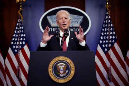 El presidente de Estados Unidos, Joe Biden, durante un discurso en el Pentágono, en Arlinton (Virginia), el pasado 10 de febrero.