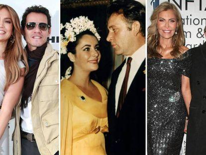 Jennifer Lopez y Marc Anthony; Elisabeth Taylor y Richard Burton; y Larry King y Shawn Southwick.