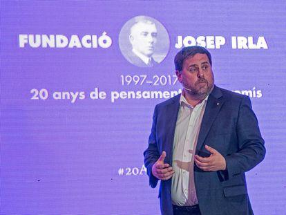 Oriol Junqueras durante su participación en el acto del 20º aniversario de la Fundació Josep Irla.