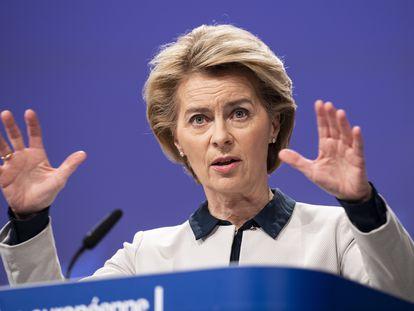 La presidenta de la Comisión Europea, Ursula Von der Leyen, durante una rueda de prensa, esta semana.  13/03/2020 ONLY FOR USE IN SPAIN