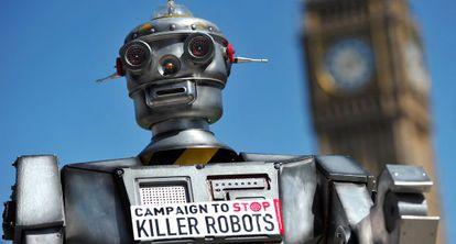 Campaña contra el uso de robots en la guerra, en Londres en 2013.