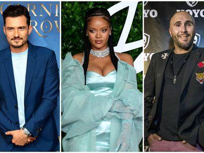 De izquierda a derecha: Orlando Bloom, Rihanna y Kiko Rivera.