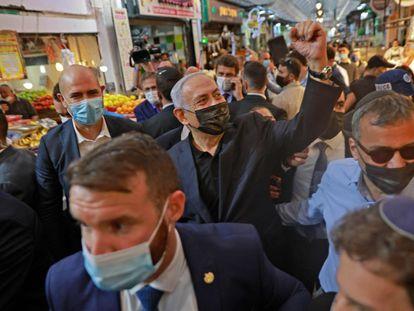 El primer ministro israelí, Benjamín Netanyahu, el lunes en un acto de campaña en Jerusalén.