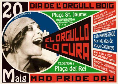 Cartel de ActivaMent convocando al Día del Orgullo Loco en Barcelona.