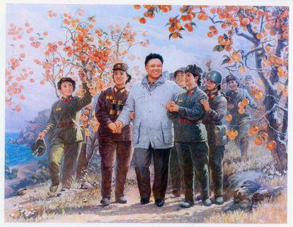 Imagen de la propaganda oficial de Corea del Norte que mitifica a Kim Jong-il.
