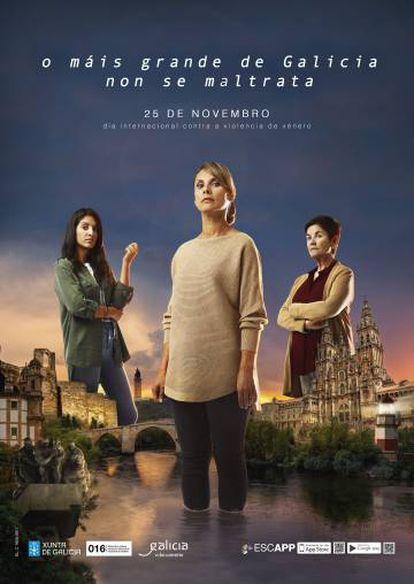 Tres mujeres emergen de los monumentos más representativos de Galicia bajo el lema 'Lo más grande de Galicia no se maltrata'.