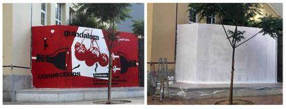 El grafiti cubierto en el espacio vecinal La Gasolinera, en el barrio de la Guindalera de Madrid.