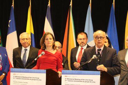 Los representantes del Grupo de Lima, este jueves en Toronto.