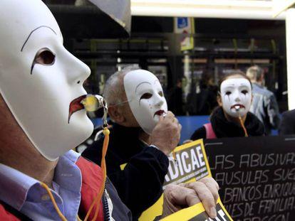 Manifestación de afectados por cláusulas suelo en Madrid, en una imagen de 2019.