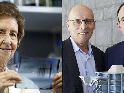 La científica Margarita Salas (izq) y los ingenieros Carlos Fermín Menéndez Díaz (centro) y  Antonio Corredor Molguero (der).