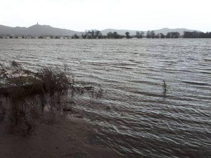 Antiguos terrenos desecados de la Lagoa de Antela anegados por las borrascas.