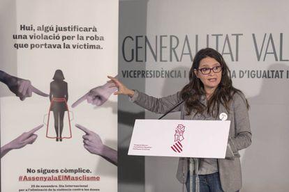La vicepresidenta del Gobierno valenciano, Mónica Oltra, durante la presentación del nuevo servicio.
