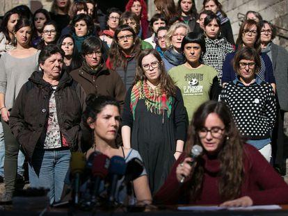 Las diputadas de la CUP en el acto feminista del pasado enero.
