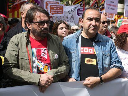 Camil Ros, secretario general de UGT, y Javier Pacheco, de CC OO.