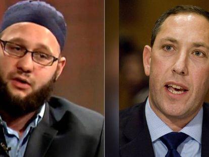El exreclutador de yihadistas Jesse Morton (izquierda), durante su época radicalizado, y exdirector de Inteligencia de Nueva York Mitchell Silber.